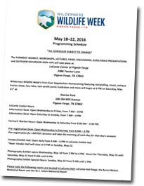2016 Wildlife Week Schedule