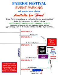 Pigeon Forge Patriot Festival Free Parking Map by Pigeon Forge Chamber of Commerce